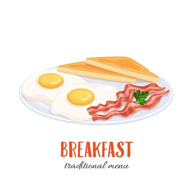 Oeufs Avec Bacon Et Toasts Vecteur Premium