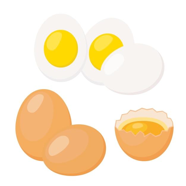 Œufs à la coque, coquille d'oeuf cassée avec du jaune Vecteur Premium