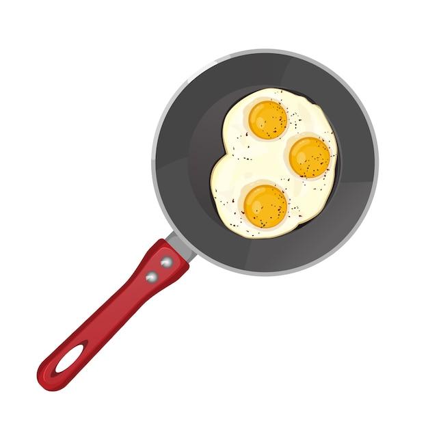 Œufs épicés frits dans une poêle en téflon Vecteur Premium