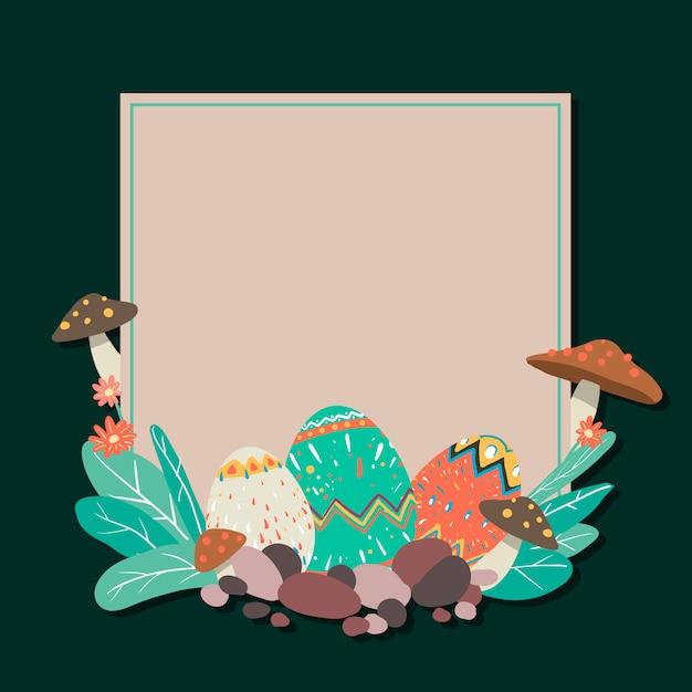 Oeufs de pâques chasse vecteur de cadre carré carré festival Vecteur gratuit