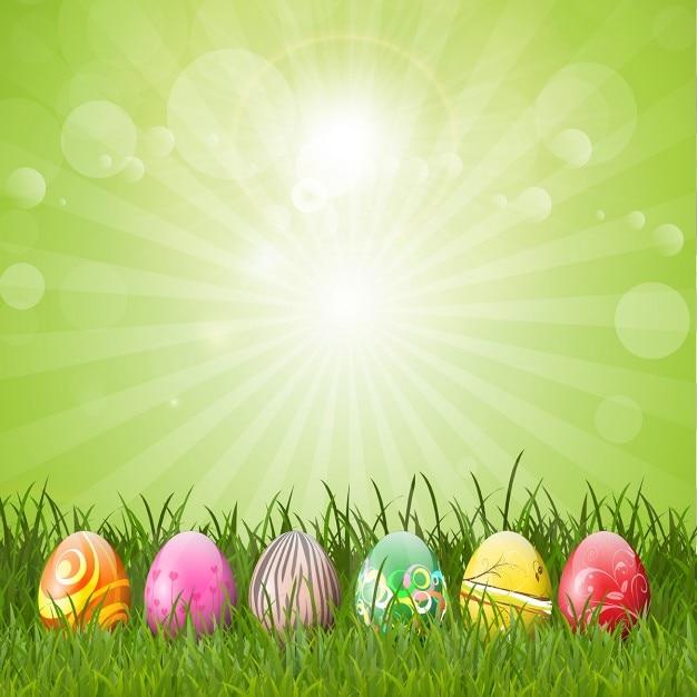 Oeufs de pâques fond vert Vecteur gratuit