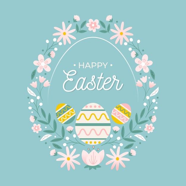 Oeufs De Pâques Joyeux Dessinés à La Main Et Couronne De Fleurs Vecteur gratuit