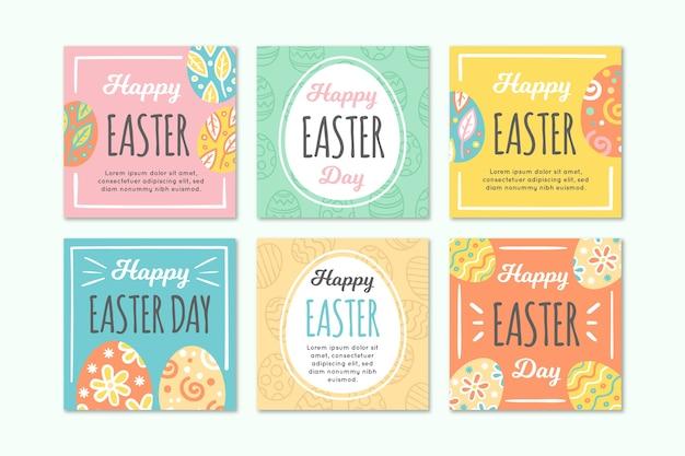 Oeufs De Printemps Colorés Instagram Collection De Pâques Vecteur gratuit