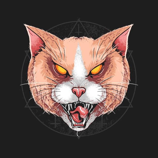 Oeuvre d'art détaillé cat angry head Vecteur Premium