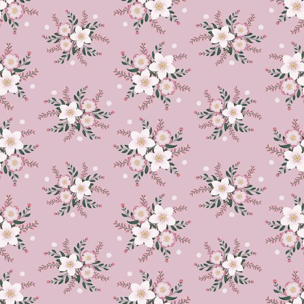 Oeuvre florale pour tissus à la mode et pour vêtements, style lierre guirlande de fleurs roses avec branche et feuilles. fond de modèles sans soudure. Vecteur Premium
