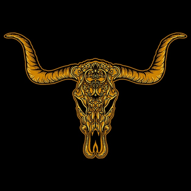 Oeuvre Ilustration Or Crâne Bison Ornement Vecteur Premium