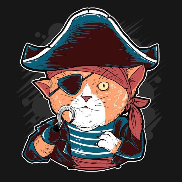Œuvres d'art vectorielles mignons cat pirates Vecteur Premium