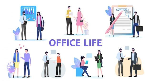Office life group homme femme collègue équipe travail discussion discussion discuter Vecteur Premium