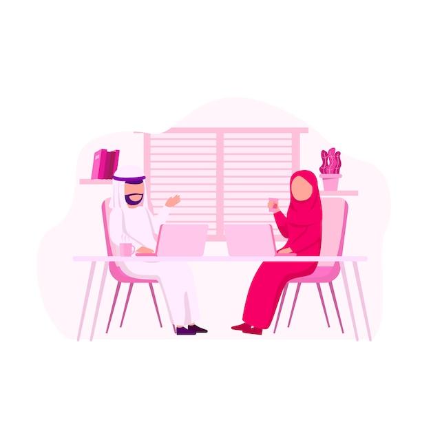 Un officier arabe discute de travaux de collaboration Vecteur Premium