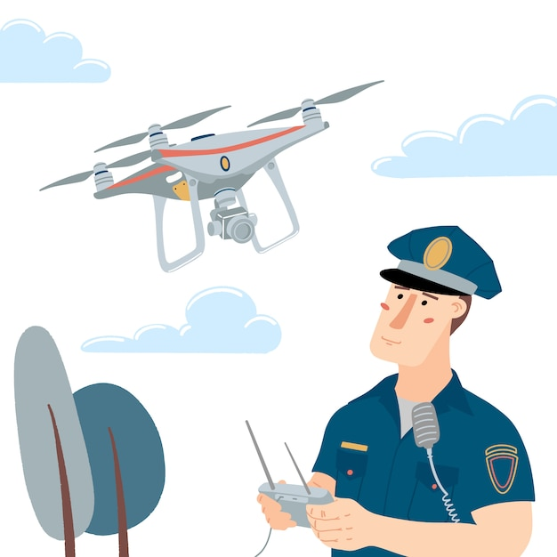 Officier de police, policier opérant un drone volant avec télécommande Vecteur Premium