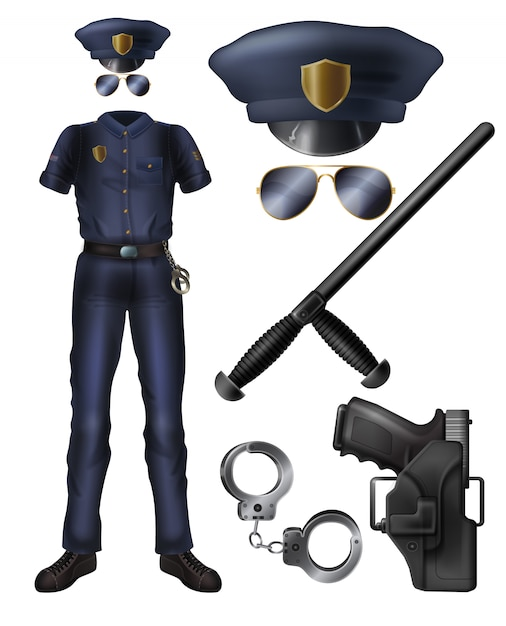 Bureau de l'inspecteur III - Arthur Watkins Officier-police-uniforme-garde-du-service-securite-arme-accessoires-dessin-anime_1441-3547