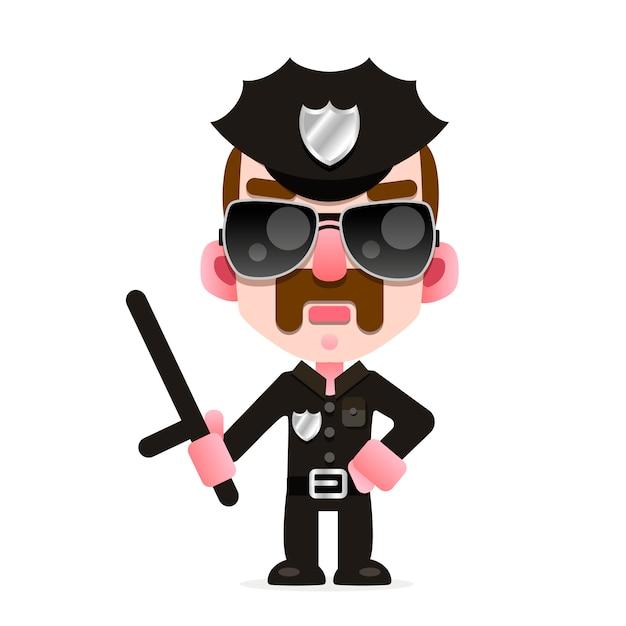 Un officier de police en uniforme de la police américaine Vecteur Premium