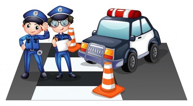 Officiers De Police Sur La Route Vecteur gratuit