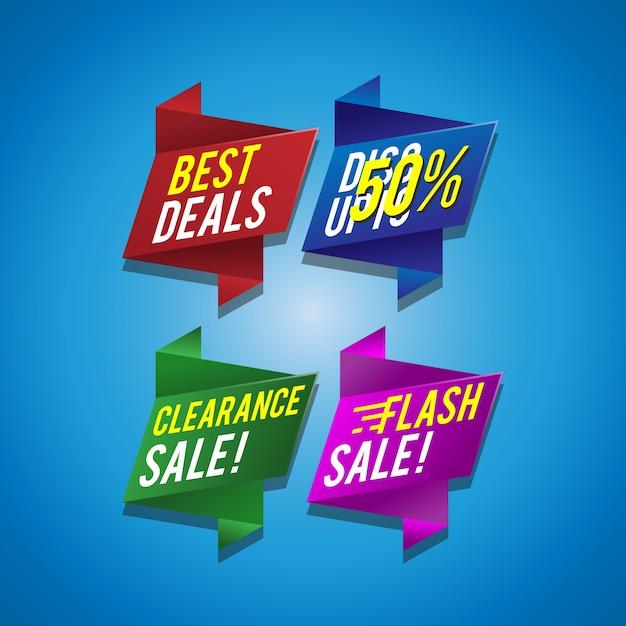 Offre une collection de bannières ruban Vecteur Premium