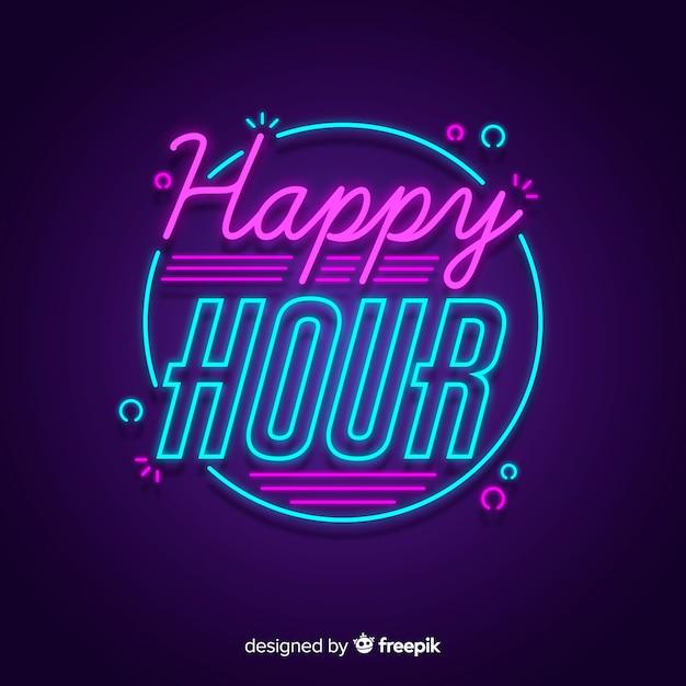Offre happy hour avec enseigne au néon Vecteur gratuit