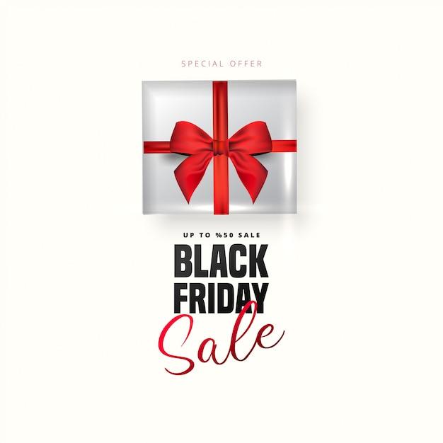 Offre De Réduction De 50% Sur Le Lettrage Noir Du Vendredi, Boîte-cadeau Blanche Sur Fond Blanc. Peut être Utilisé Comme Affiche, Bannière Ou Modèle. Vecteur Premium