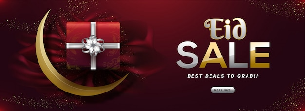 Offre de réduction pour le modèle de bannière de vente eid al-fitr. eid mubarak Vecteur Premium