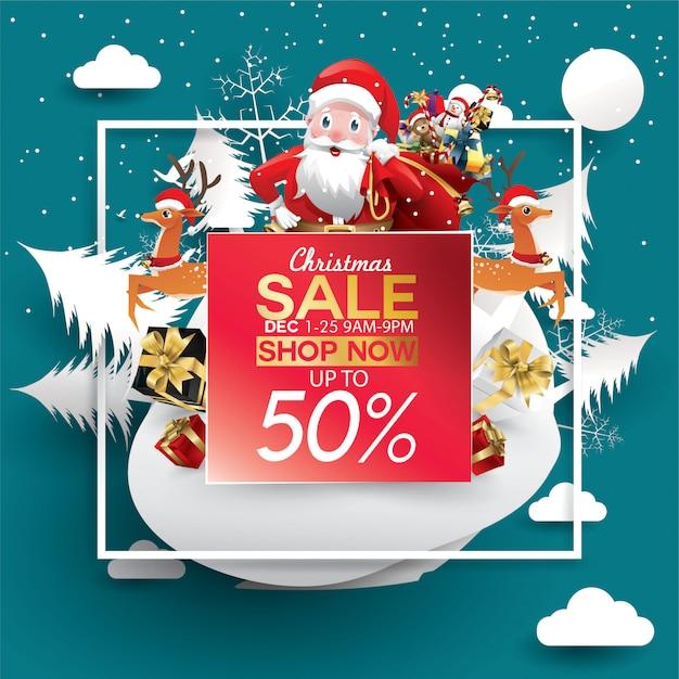 Offre de réduction de vente de noël. chapeau du père noël dans la neige en forêt pour la promo du nouvel an Vecteur Premium