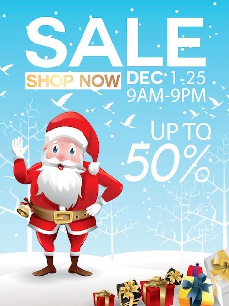 Offre de réduction de vente de noël. père noël avec un énorme sac rouge avec des cadeaux dans la neige Vecteur Premium