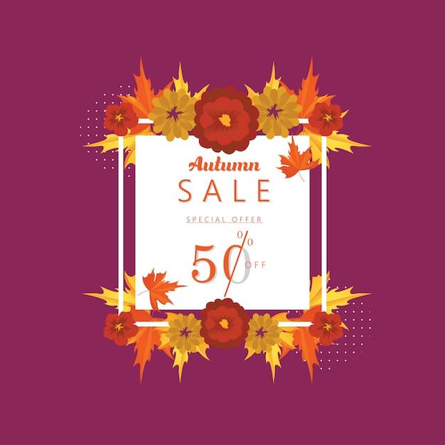 Offre spéciale automne: 50% de rabais sur la bannière et l'arrière-plan. Vecteur Premium