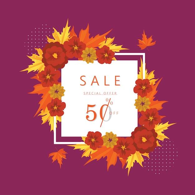 Offre spéciale d'automne: 50% de rabais sur les bannières et arrière-plans Vecteur Premium