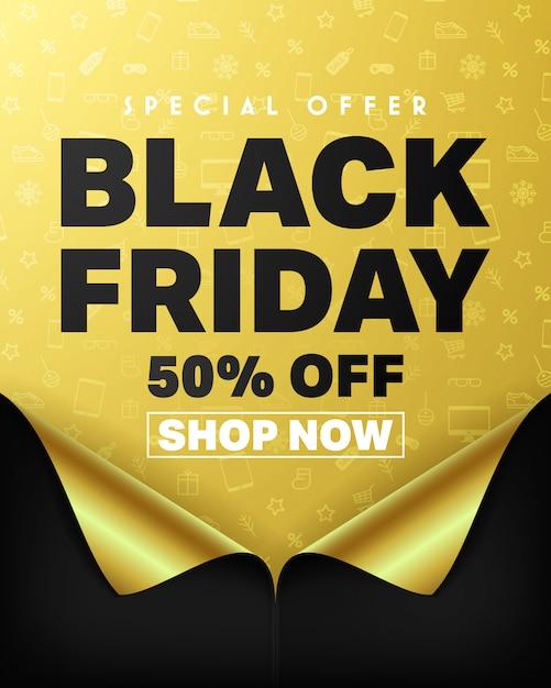 Offre spéciale black friday: 50% de rabais et affiche d'achat immédiat Vecteur Premium