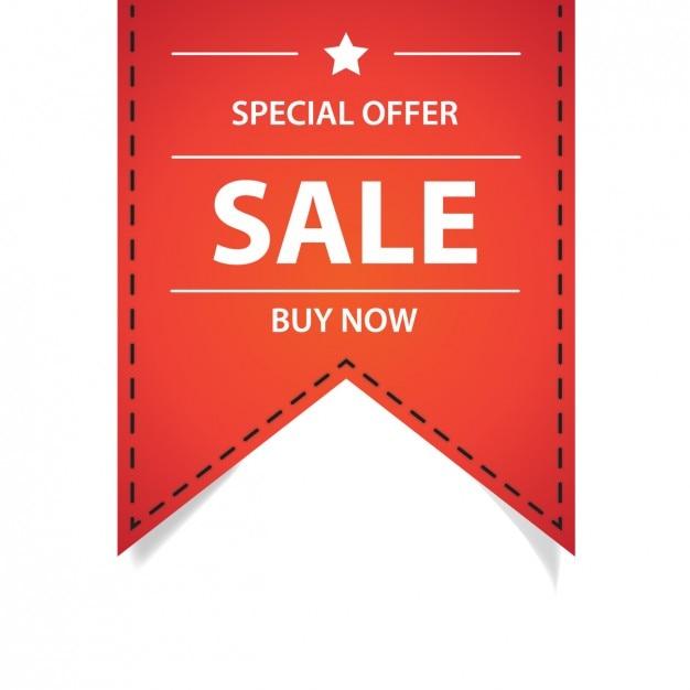 Offre spéciale ruban rouge Vecteur gratuit