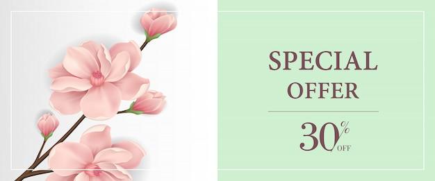 Offre spéciale trente pour cent de rabais bannière avec une brindille floraison rose dans un fond vert clair Vecteur gratuit