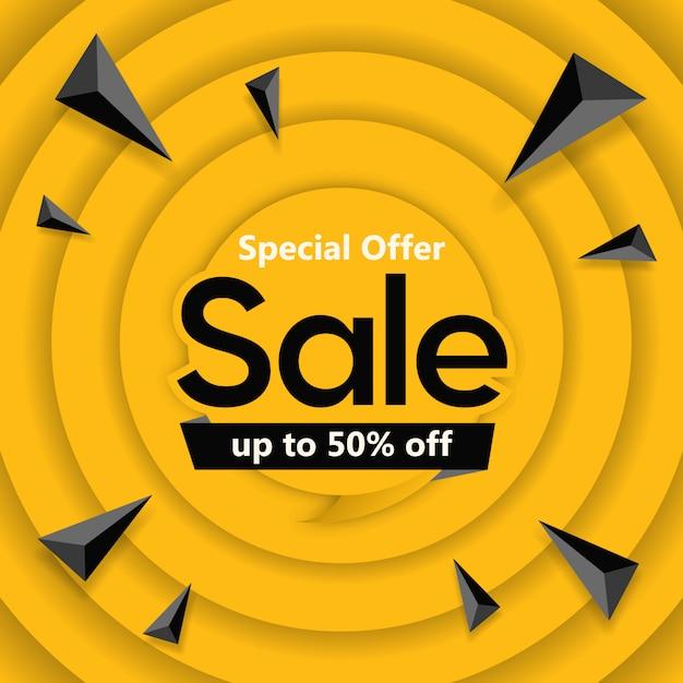 Offre spéciale vente bannière design carré Vecteur Premium