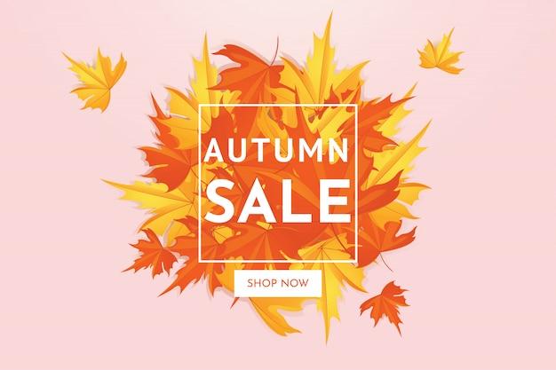 Offre de vente discount automne avec les feuilles d'érable, bannière et fond. Vecteur Premium