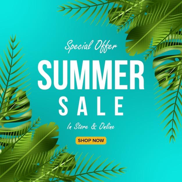 Offre de vente d'été conception de bannière avec fond de feuilles Vecteur Premium