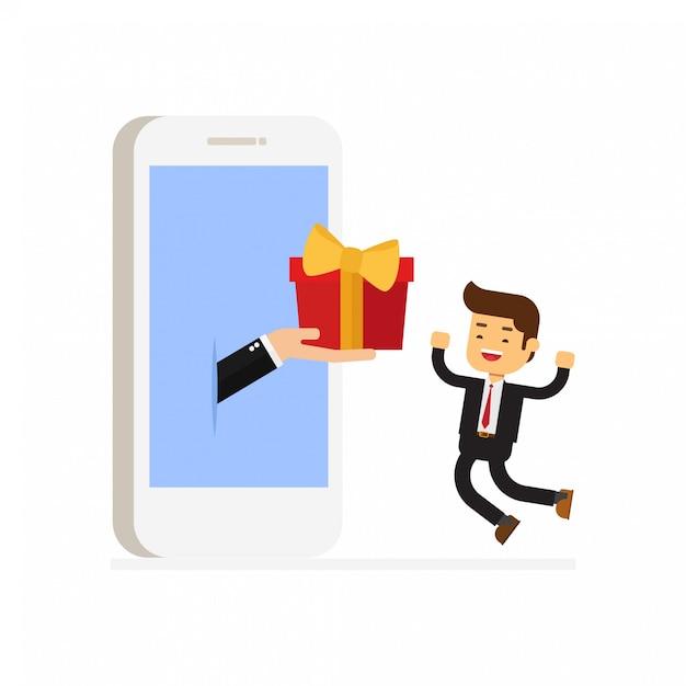 Offrir un cadeau à un homme d'affaires Vecteur Premium
