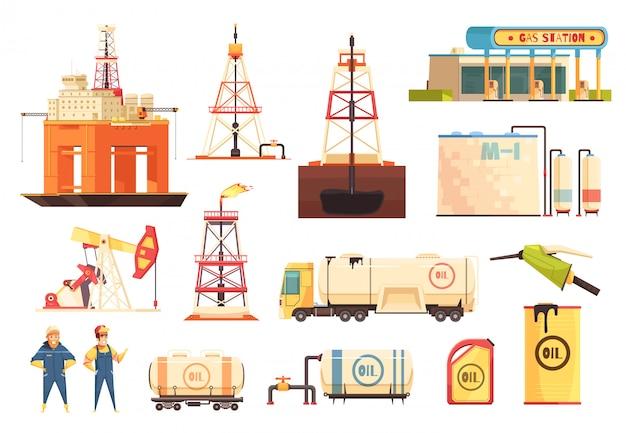 Oii production industry icons set Vecteur gratuit