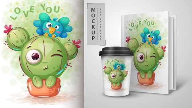 Oiseau, affiche de cactus et merchandising Vecteur Premium