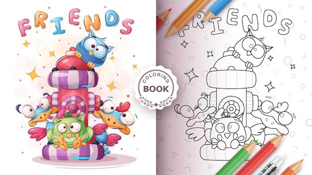 Oiseau D'amis Mignons - Coloriage Vecteur gratuit