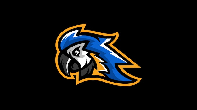 Oiseau ara perroquet tête logo mascotte logo Vecteur Premium