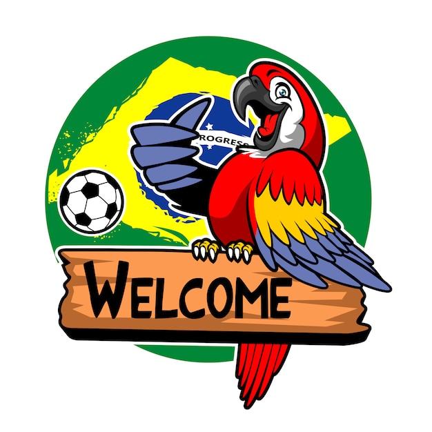 Oiseau ara voeux avec fond de drapeau du brésil Vecteur Premium