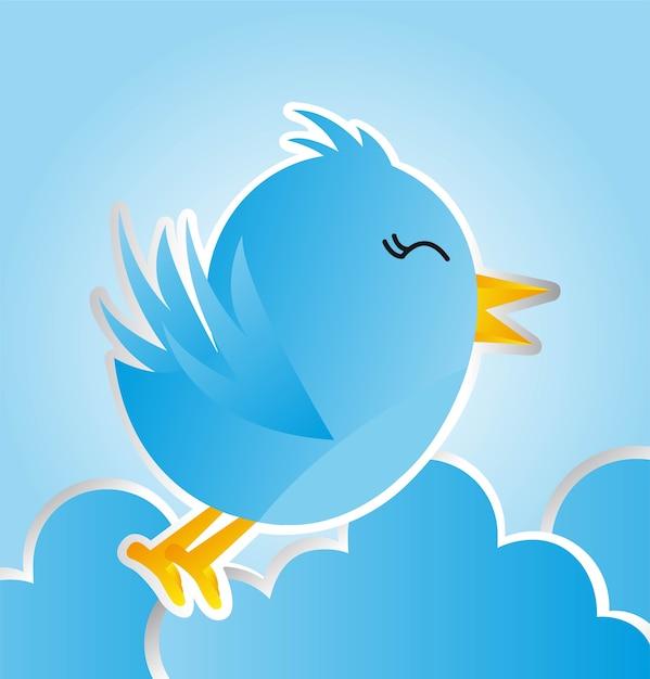 Oiseau bleu avec des nuages au cours de l'illustration vectorielle fond bleu Vecteur Premium