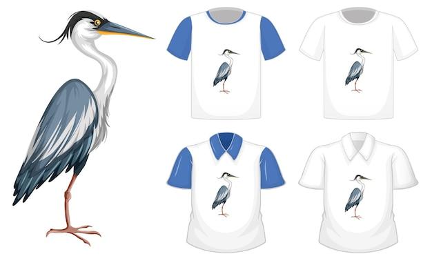Oiseau Cigogne En Personnage De Dessin Animé De Position De Stand Avec De Nombreux Types De Chemises Vecteur gratuit