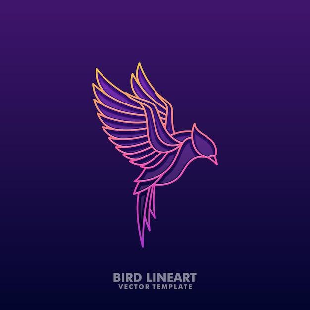 Oiseau coloré illustration vecteur lineart Vecteur Premium