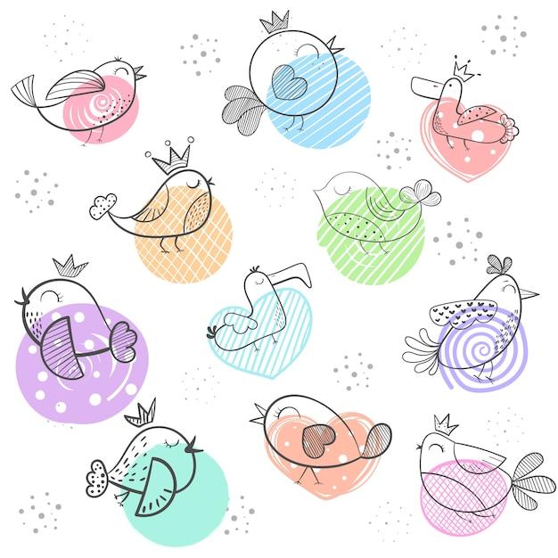 Oiseau dessin animé mignon oiseau doodle Vecteur Premium