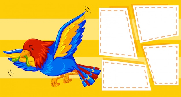 Un oiseau sur fond de note Vecteur gratuit