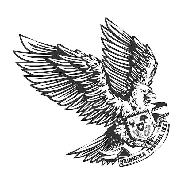 Oiseau Garuda Dessiné à La Main Vecteur Premium