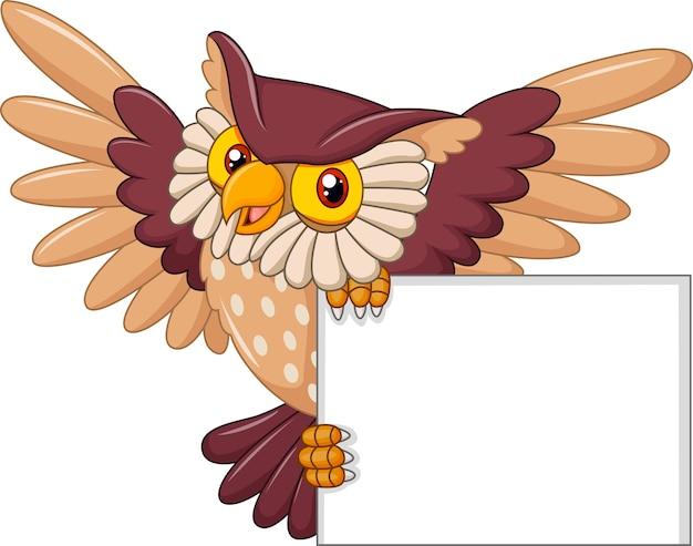 Oiseau Hibou Dessin Animé Qui Vole Tenant Une Pancarte