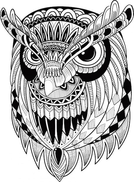 Oiseau hibou mignon dans le style zentangle Vecteur Premium