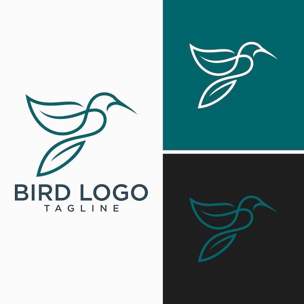 Oiseau logo abstract lineart contour design vector template Vecteur Premium