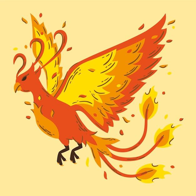 Oiseau Phénix Design Dessiné à La Main Vecteur gratuit