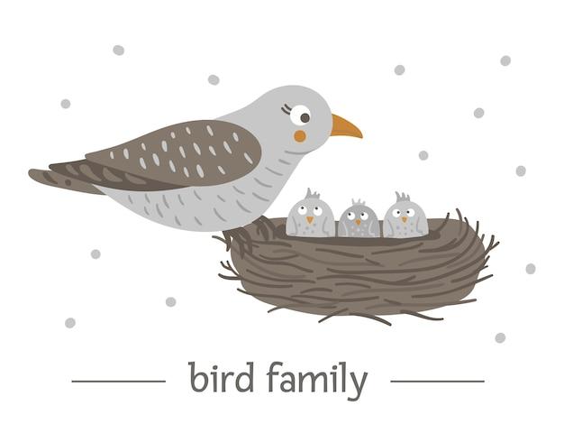Oiseau Plat Dessiné à La Main Assis Sur Le Nid Avec Des Oeufs. Vecteur Premium