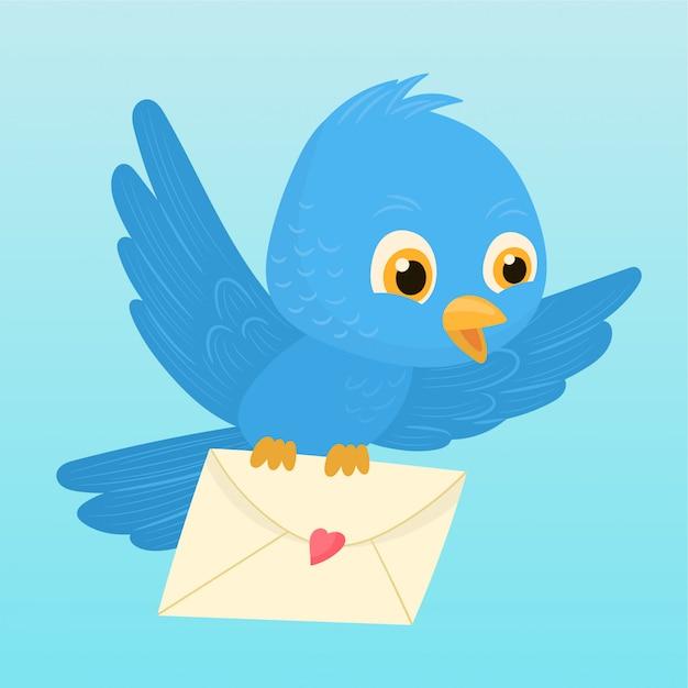 Oiseau portant une enveloppe Vecteur Premium