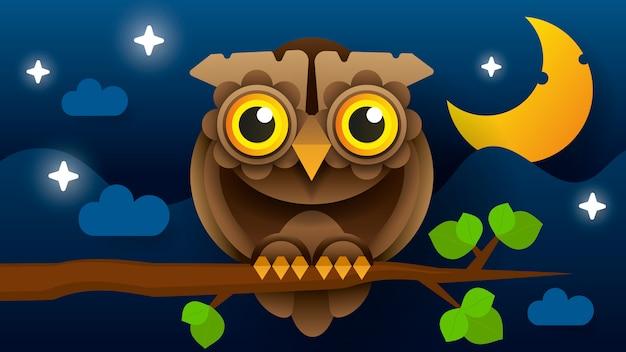 Oiseau De Proie Prédateur Nocturne à Plumes De Forêt Sauvage Assis Sur Une Branche. Vecteur Premium